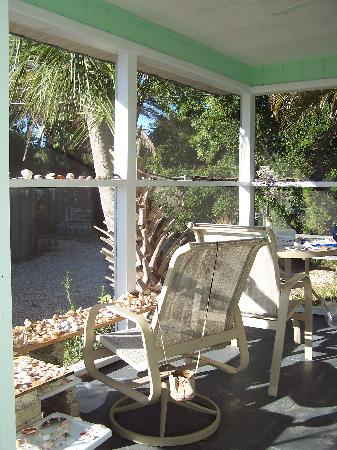 "Periwinkle Cottages of Sanibel: ""Ibis"" screen porch"