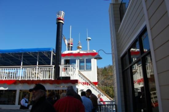 The Lake Queen: The stern wheeler at Branson Landing prior to boarding