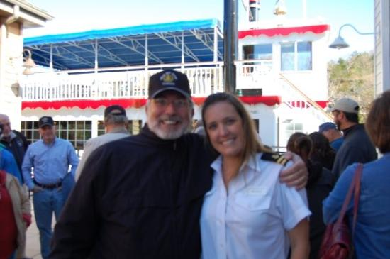 "The Lake Queen: Charlie and one of ""the crew"" of the stern wheeler"