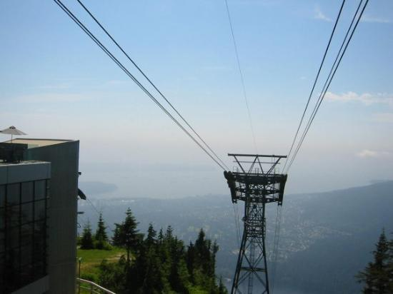 Grouse Mountain Skyride : On top of Grouse Mountain looking down on the city of Vancouver BC.