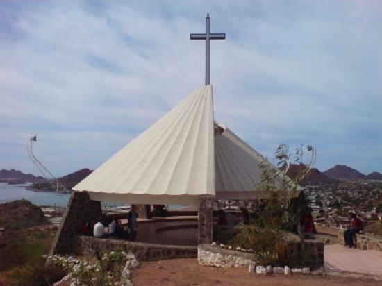 Porziuncula Chapel with breathatkin view of the city of Guaymas