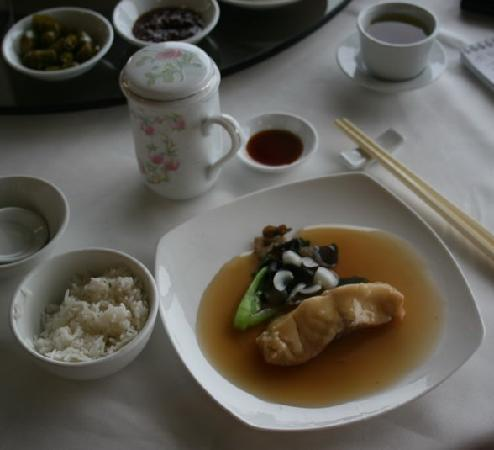 Imperial Restaurant: Braised codfish with black fungus (Mu-Err) and lily bulbs in fermented rice wine sauce