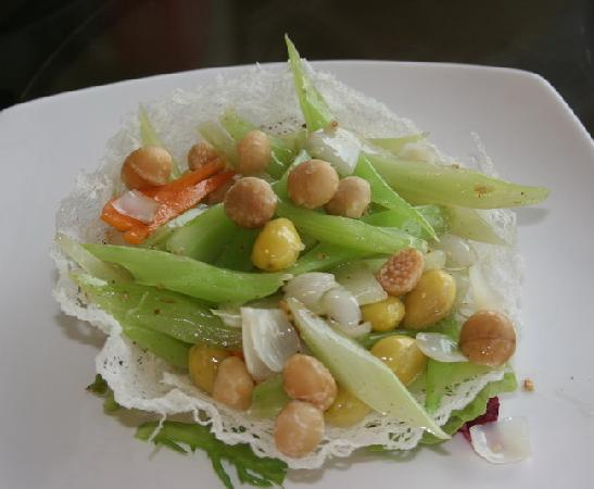 Imperial Restaurant: Stir fried celery with Macadamia nuts, Ginkgo nuts and lily bulbs in a rice basket