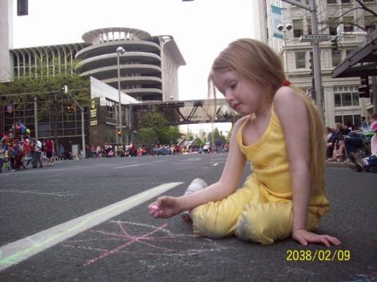Spokane, WA: where else can you play with chalk midday in the middle of downtown....its a party