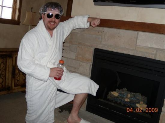 Highmark Steamboat Springs: Josh was all excited about the bath robes we got!! Along with the slippers that were too small f
