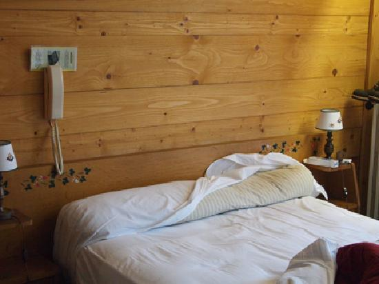Hotel Etoile d'Or: Bed with no pillows, stained, other guest hair on it, lumpy mattress
