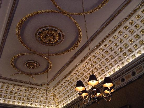 Swinton Park: The gold leaf dining room ceiling.