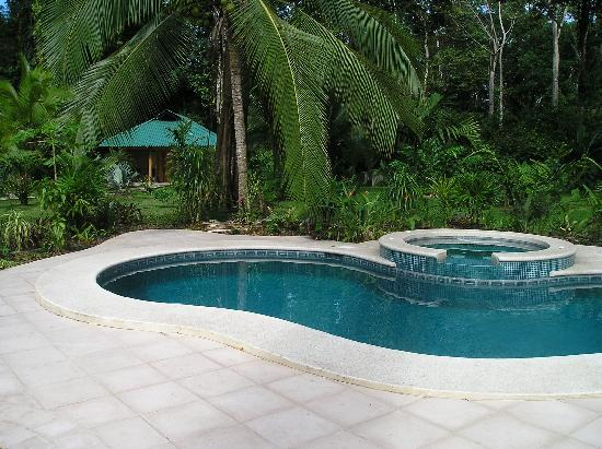 El Nido Cabinas: Our cabin from the pool & jacuzzi
