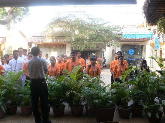 Sala Bai Hotel School: The students line up ready for the day's training