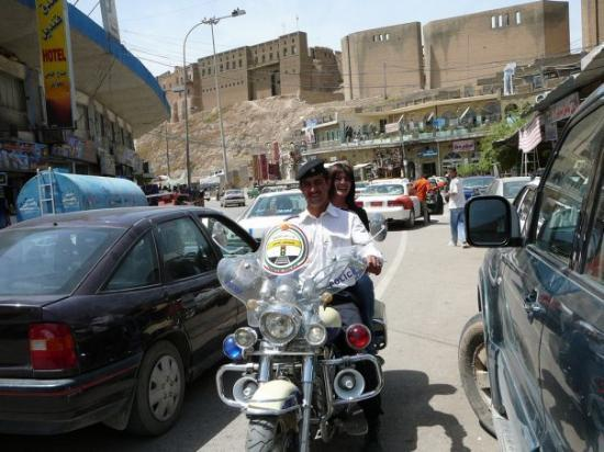 Downtown Erbil, Iraq Police officer took me for a ride on his Honda 2006