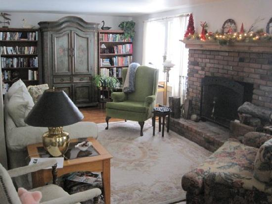 Winterberry Bed & Breakfast : Aggie's living room, and fireplace