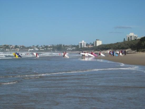 Surfers hit the beach at Maroochydore