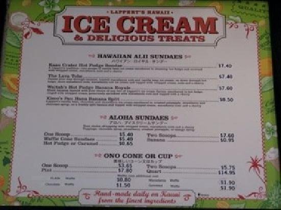 Lappert's Ice Cream : Menu