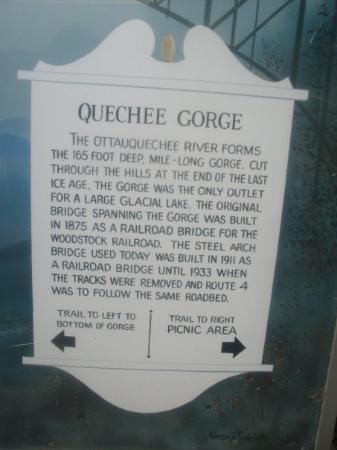 Quechee, Vermont: Quechee Gorge info board