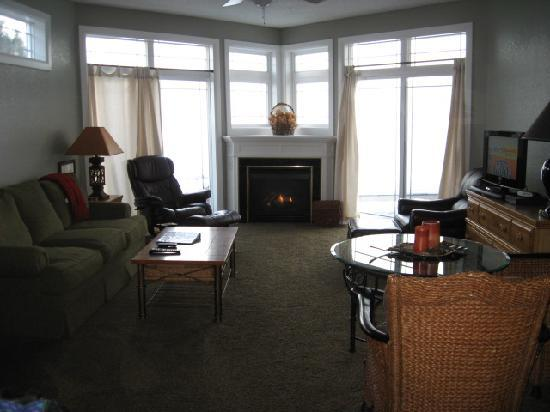 Willows on the River: Fireplace between floor to ceiling windows