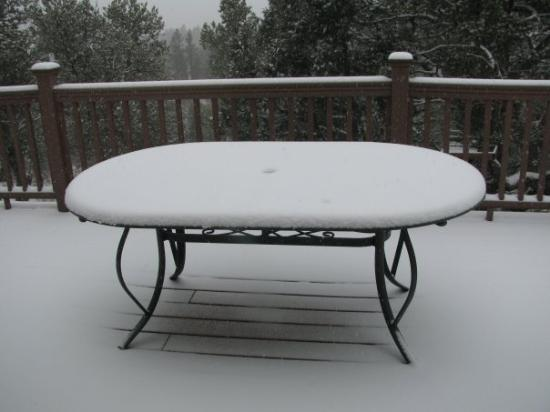 Trinidad, CO: patio table on back deck