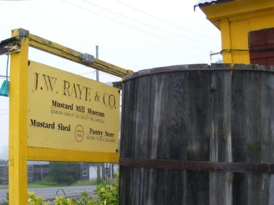 Eastport, ME: A mustard barrel and the Raye's sign