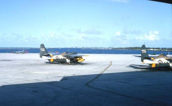 Midway Island, HI: Seaplanes at tie-downs.