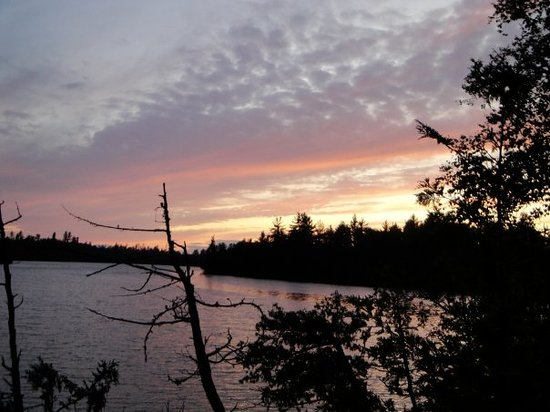 Boundary Waters Canoe Area Wilderness: Beautiful sunset from our camp on Sagus Lake