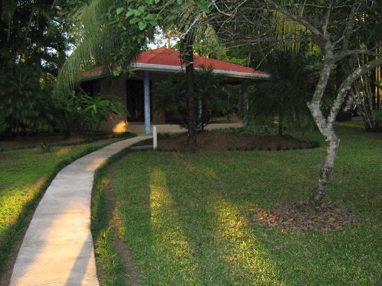 Riviera Riverside Villas: The front lawn of our cabina was huge with total privacy because of the landscaping.