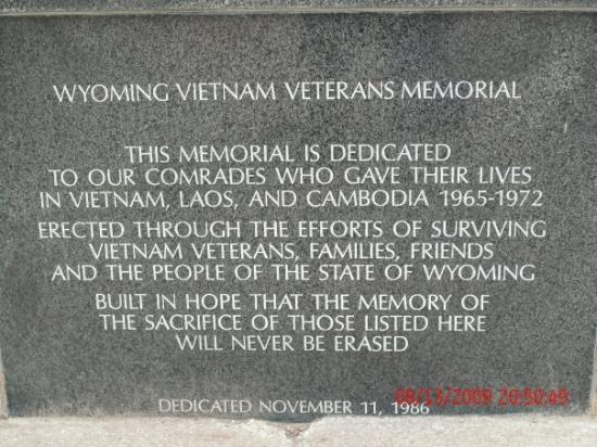 Cody, WY: Close-up of the Wyoming Vietnam Memorial