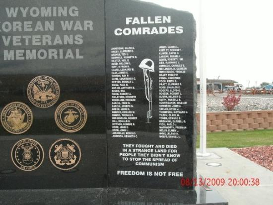 Cody, WY: A close-up of the Korean War Memorial