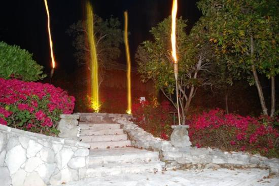 Parrot Cay: The entrance to the pool at night.
