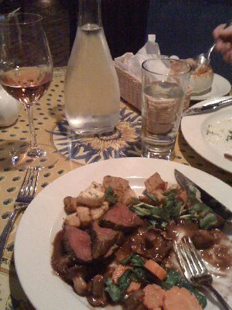 Le St Tropez: my delicious plate of venison prepared beautifully, a fine inexpensive French house rosé along w