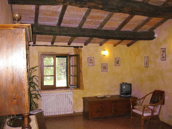Farmhouse Il Fienile: Living Room - red tint is from camera