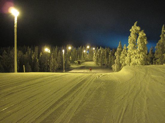 Levi, Finland: Piste at night