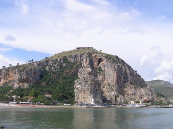 Terracina, Italy: The hill with the temple of Jupiter.