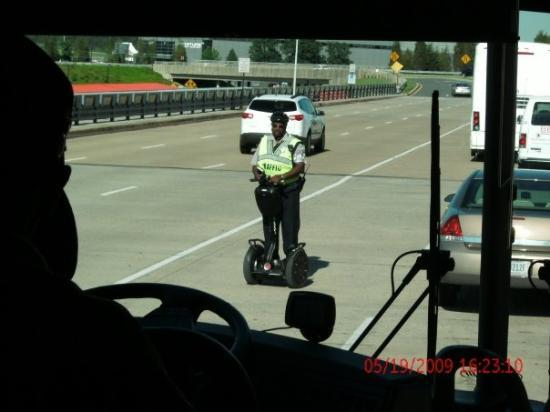 Capital Segway Tours: Arriving in Dulles. The traffic cops rode the segways everywhere.