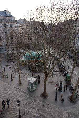 "Hotel Regyn's Montmartre: View of Place des Abbesses from our ""Privilege"" room."