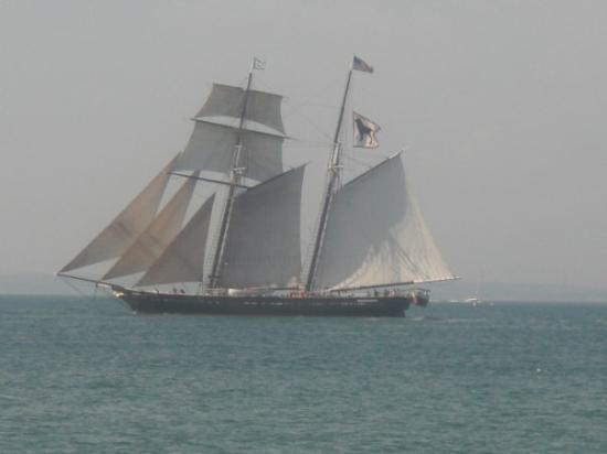 Martha's Vineyard, MA: Sail boat at Draw Bridge.
