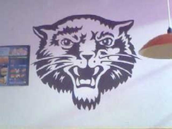 Bearcat painted on the wall in the Sonic in Booneville.