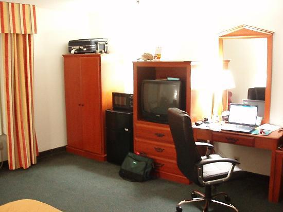 Comfort Inn Nashville/White Bridge: Desk, TV, MicroFridge, Closets