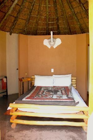 The AardVark Guesthouse and Backpackers: Behind the double bed are the en-suite facilities (including shower)