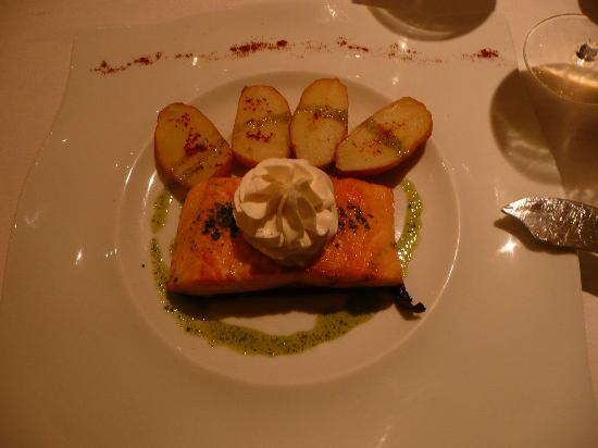 "Hotel Villa Vik: ""grilled"" salmon dish at Villa Vik restaurant"