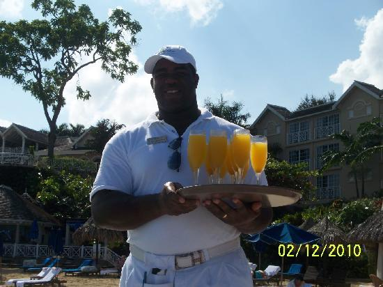 Sandals Royal Plantation: Adrian delivering Mangosas - it's 10 a.m. somewhere!