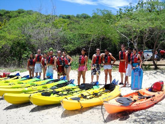 Kayaking Puerto Rico: at Tamarindo beach before starting the trip