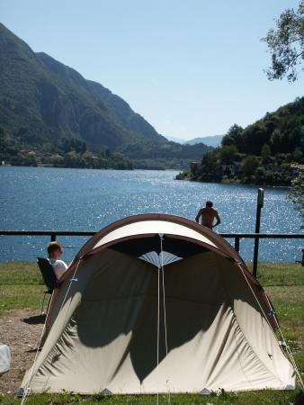 a tent in camping al lago in ledro lake