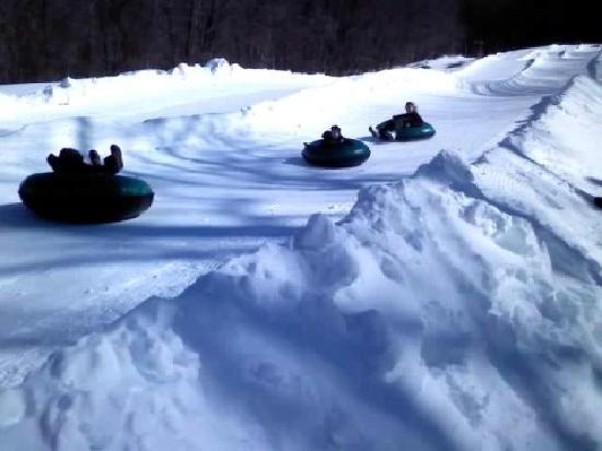 The Omni Homestead Resort: Snowtubing is super fun and fast!