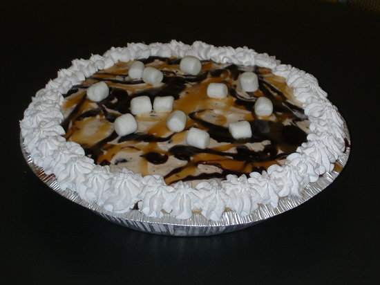 Leo's Homemade Ice Cream: A butterfinger ice cream pie topped with caramel and homeade hot fudge