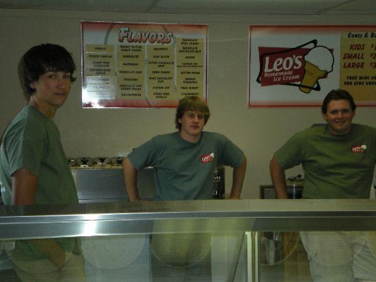 Leo's Homemade Ice Cream: The excellent staff at leos ice cream and the unique flavors