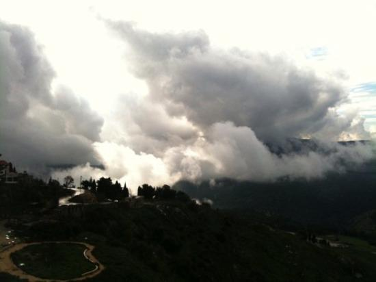 "Safed, Israel: The clouds over the mountains. (I call this group ""Tsfat Ribbon"")"