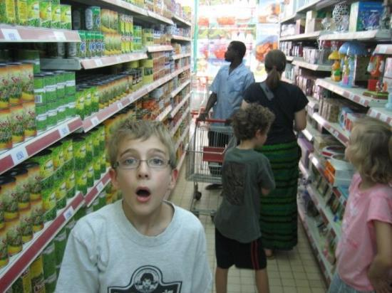 Jack is amazed by a real grocery story in Niamey.  Carts and everything.
