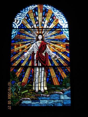 The stained glass window in our church immanuel southern for Stained glass window church