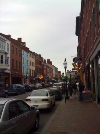 Portsmouth, NH: A shot of Market St. Take out the American cars and it doesn't look a hell of a lot different th