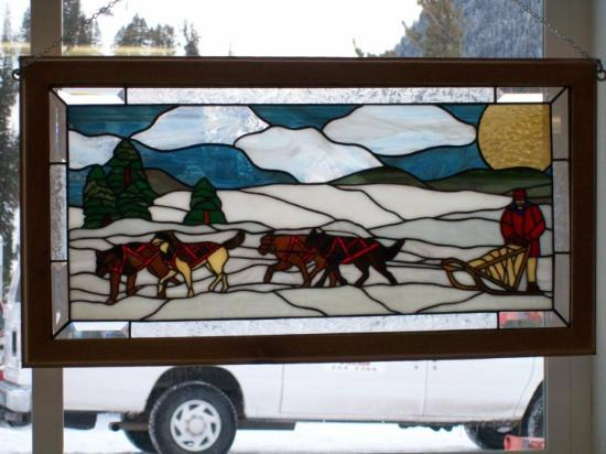 Just A Neat Stained Gl Window Hanging At The Office Of Jackson Hole Iditerod Dog Sledding