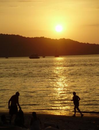 Freedom Beach : My view from the beach bar at sunset at Patong Beach -